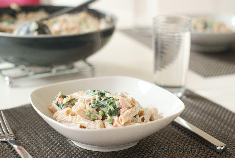 Pasta met spinazie, zalm en ricotta