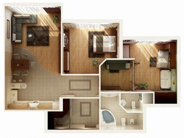 Plan maison 3D d\u0027appartement 2 pièces en 60 exemples Conception