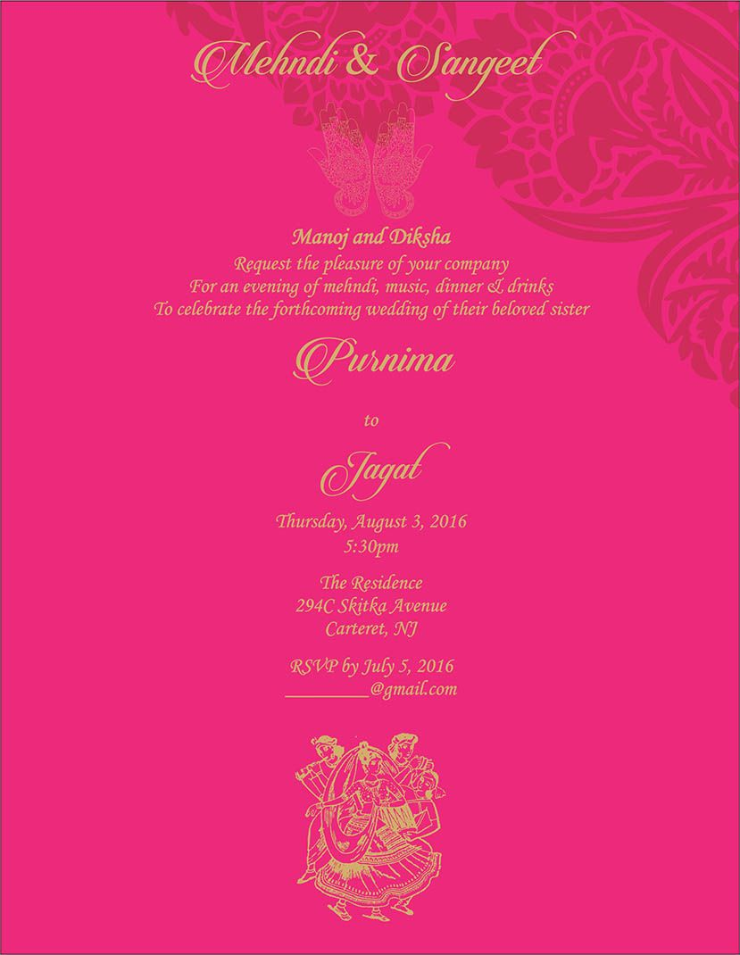 Wedding Invitation Wording For Sangeet and Mehndi Ceremony | Sangeet ...