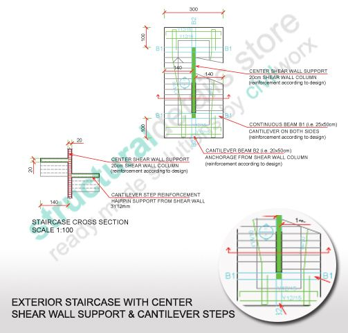 Exterior Cantilever Staircase with Shear Wall Center Support  Plan