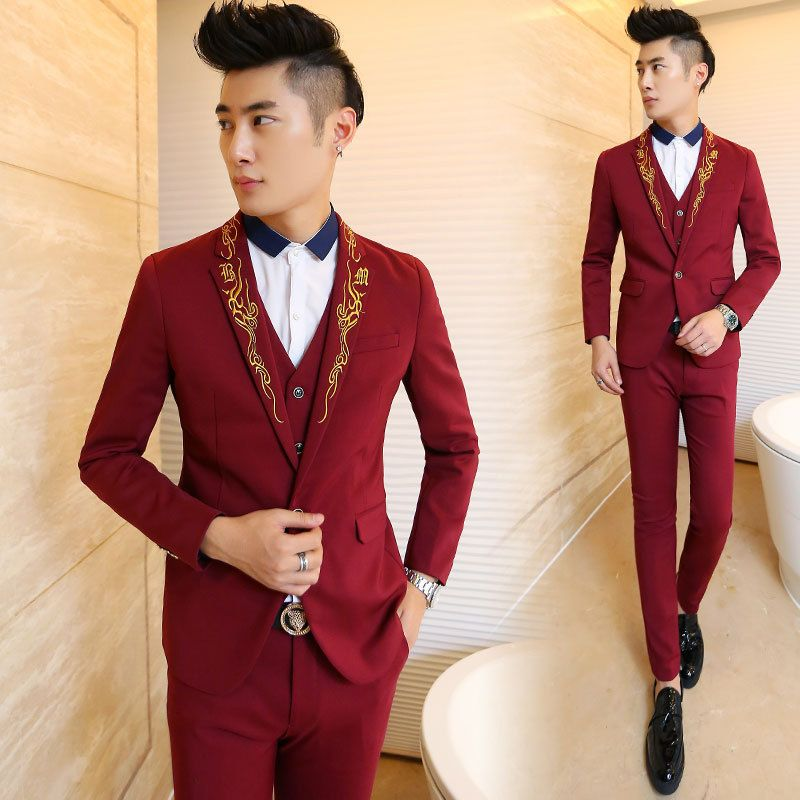 Red And Gold Prom Suit - Ocodea.com