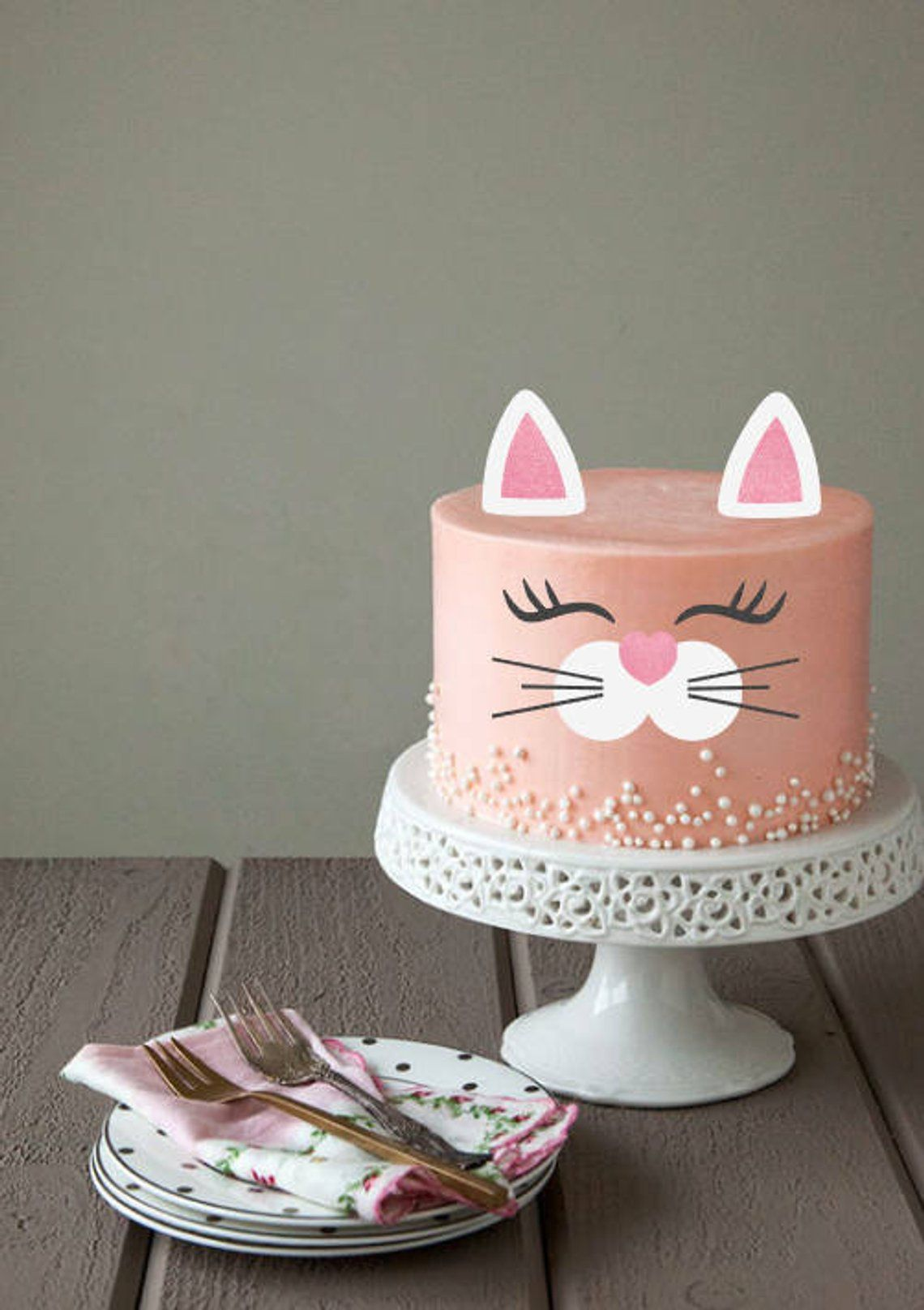 Kitty Cat Cupcake Toppers Gray and Pink Girl Birthday Party Decorations Set of 6 Girl Baby Showers
