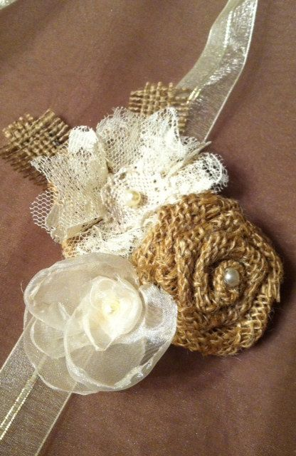 Shabby Chic Rustic Burlap and Lace Corsage by HeathersHobbys, $20.00