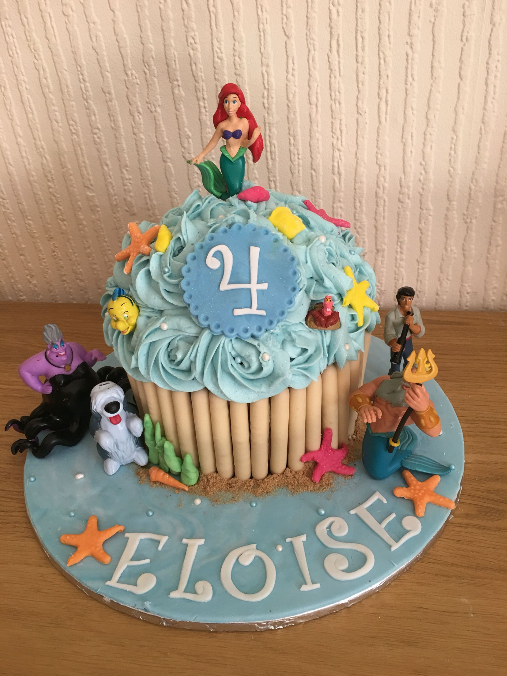 Superb The Little Mermaid Giant Cupcake Ariel With Images Giant Personalised Birthday Cards Sponlily Jamesorg
