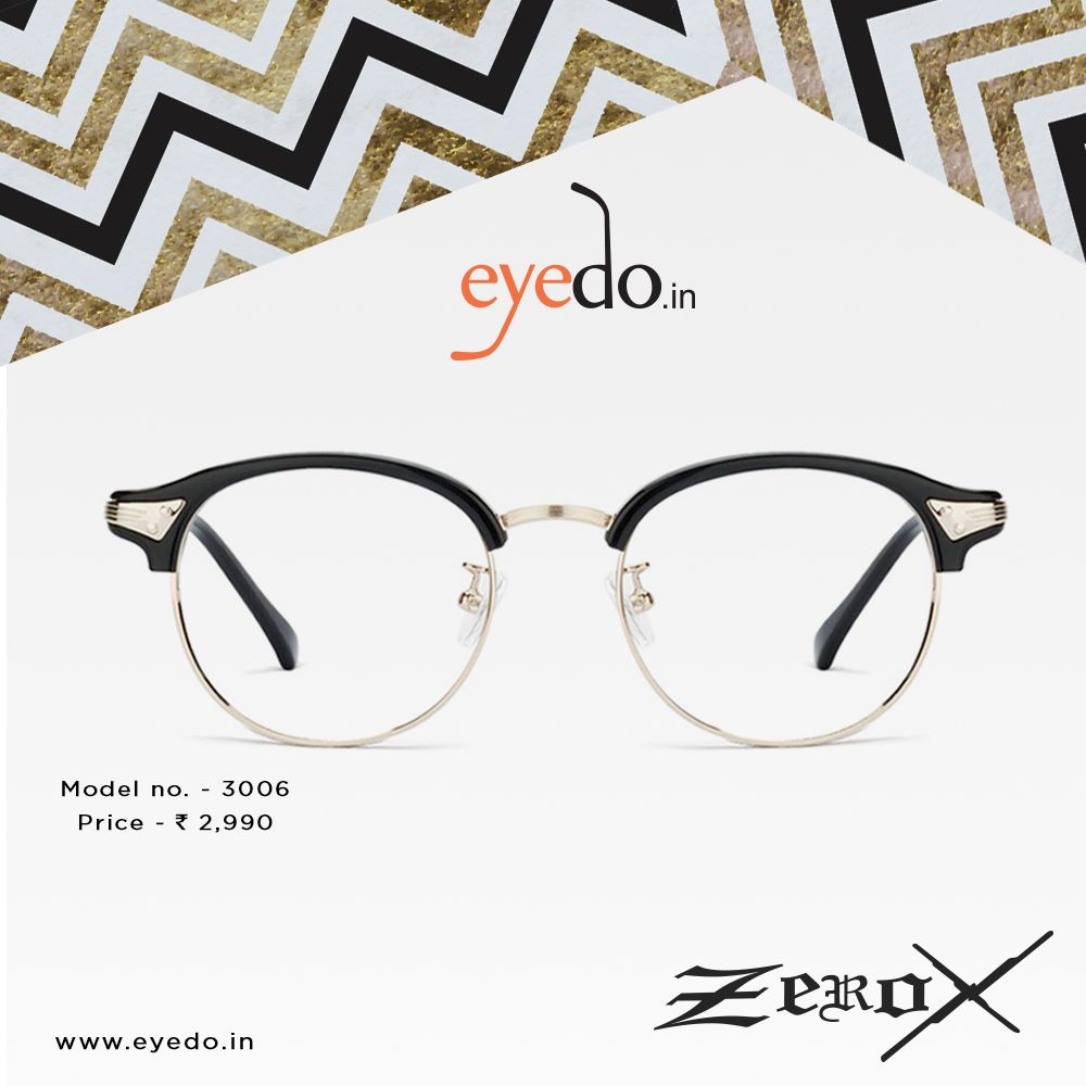 Steel and steel #eyeglasses in browline shape. #ZeroX only at #eyedo ...