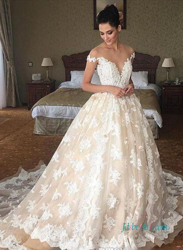 Sexy Sheer top plunging lace princess wedding dress | the dress ...