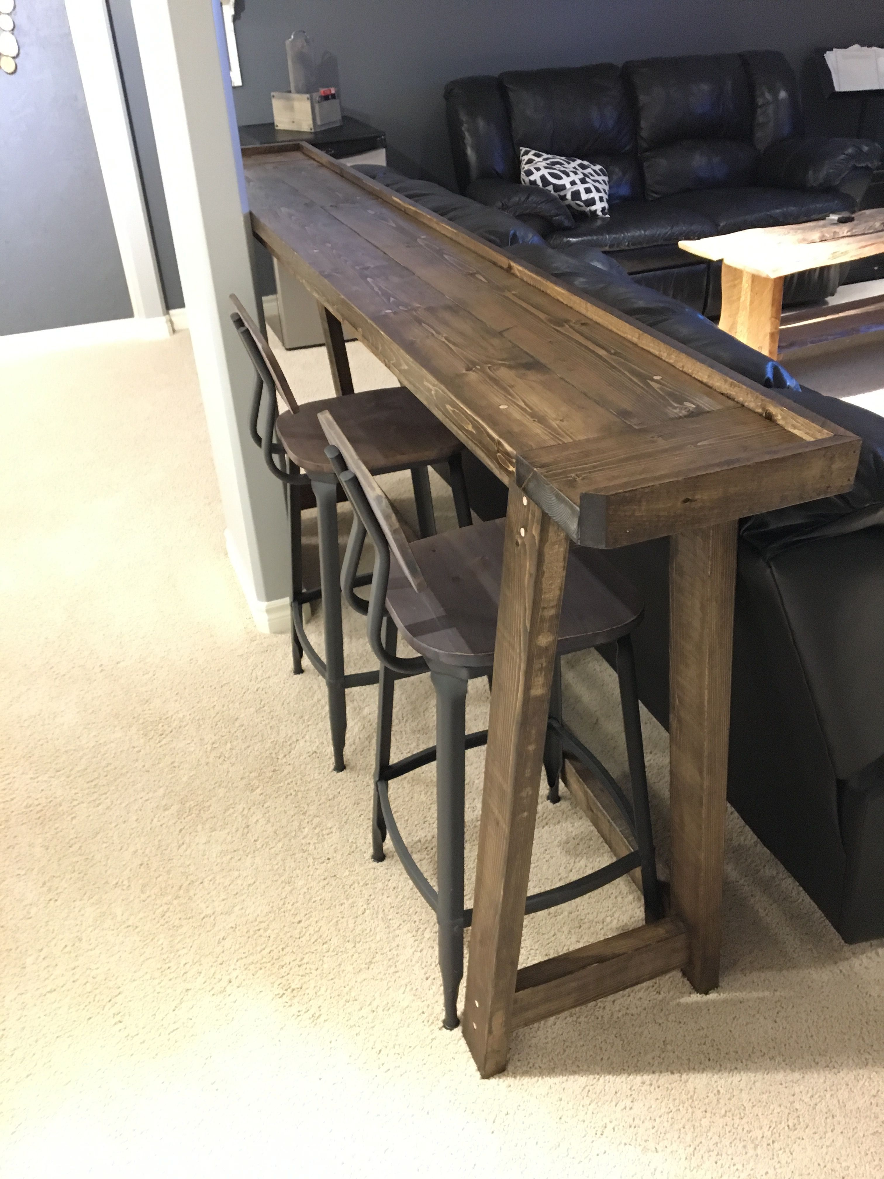 Bar Height Table Behind The Couch Fixupbasement Rec Room Decor Home Decor Home Diy