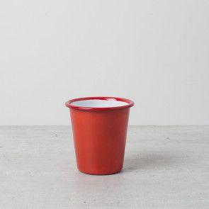 Red enamel tumbler by Falcon Enamelware
