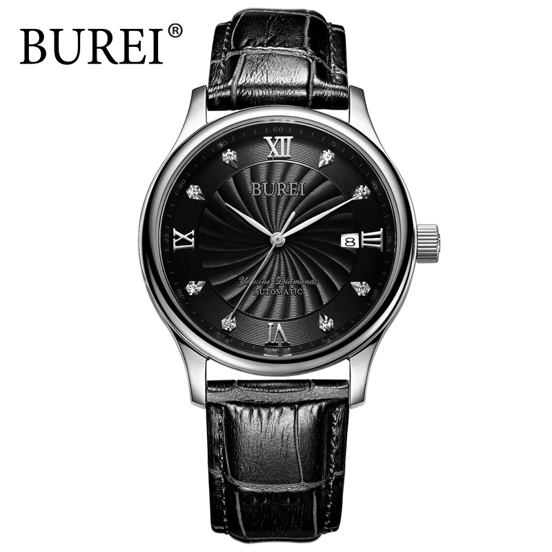 62.99$  Watch now - http://aliww0.worldwells.pw/go.php?t=32659705531 - BUREI Tourbillon Automatic Luxury Watch Men Sapphire Genuine Leather waterproof Fashion Rhinestone Wristwatch Relogio Masculino