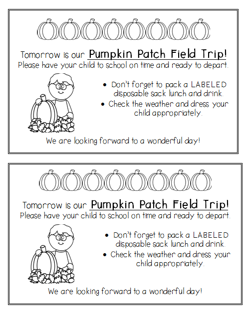 Pumpkin Patch Field Trip Letter Parent Reminder Worksheets | Fall