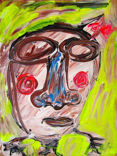 """""""O si prefieres, con esa cara de bobo"""" de Victoria Barranco @ VirtualGallery.com - Pintura acrílica sobre tabla de 15x20 cm (5.9x7.9 in). Arte marginal. Mujer con estrella en el pelo. (2014)"""
