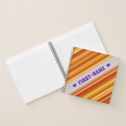 Name Goldfish-Inspired Colored Stripes Pattern Notebook - pattern - sample notebook paper