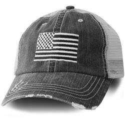 Distressed American Flag Black Cap Mesh Back American Flag Hat Flag Hat Flag Decal