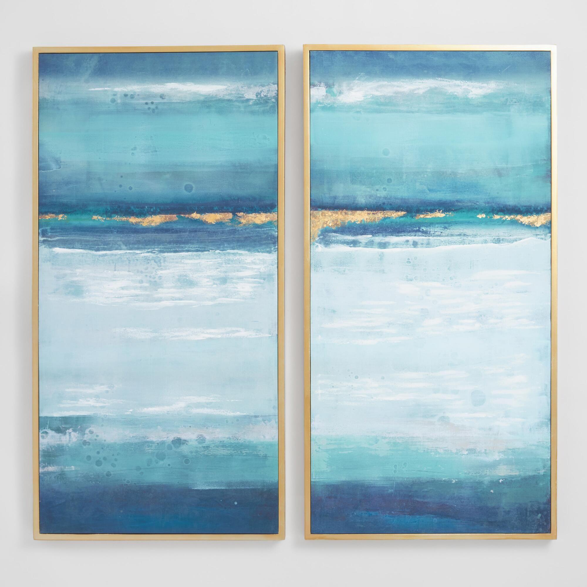 Blue Crush By Elinor Luna Diptych Wall Art Set Of 2 By World Market Diptych Wall Art Abstract Canvas Wall Art Beach Wall Art