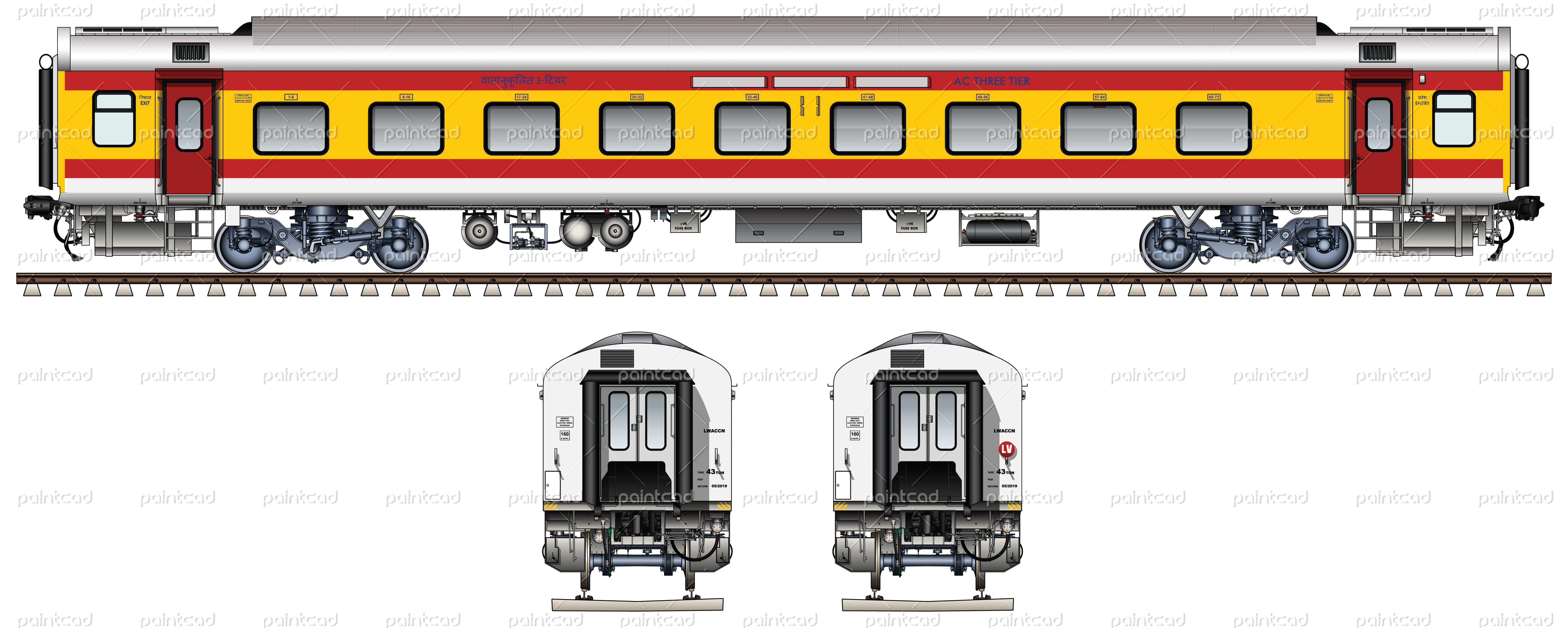 LHB AC THREE TIER car in first colors of Humsafar Express | Indian ...