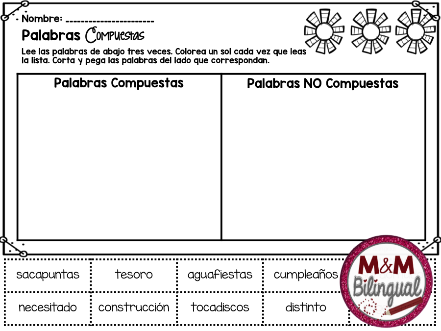 Palabras Compuestas Compound Words 20 Task Cards With Multiple Choice Options Editable Template Recording Sheets And Cut Sort Activity