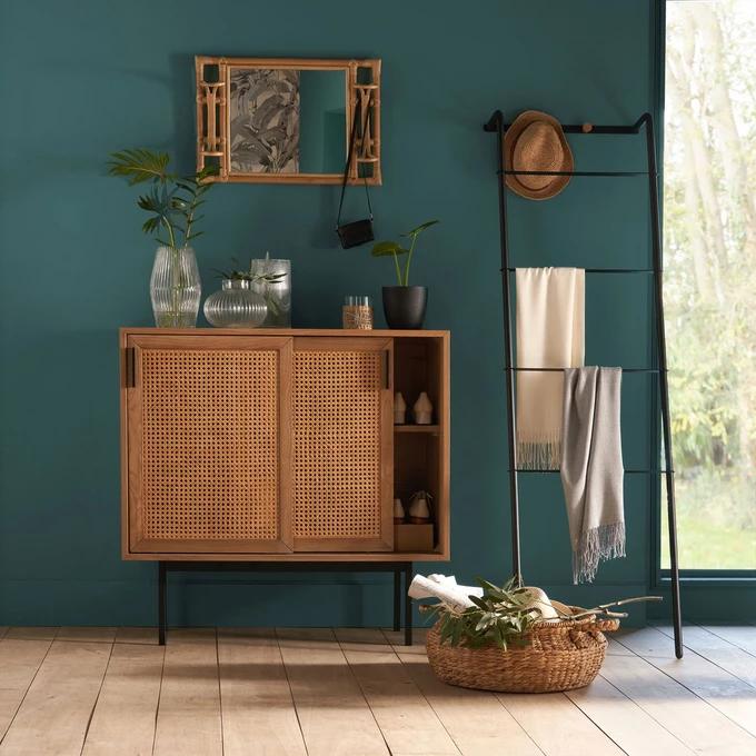 Armoire Basse 2 Portes Coulissantes Cannage Waska En 2020 Meuble Deco Decoration Maison Et Cannage