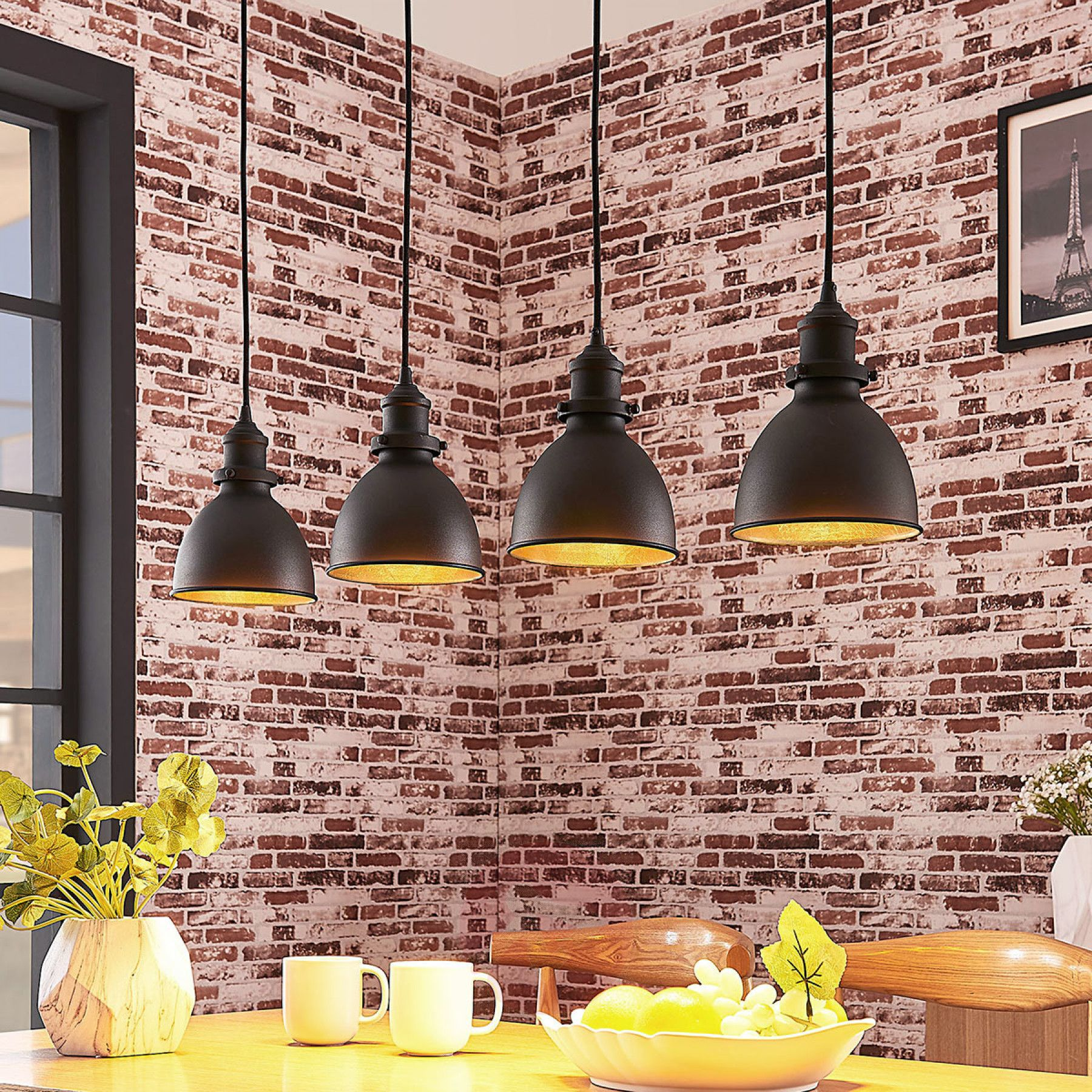 Küchendesign mit minibar pendelleuchte jasminka schwarzgold flammig kaufen  lampenwelt