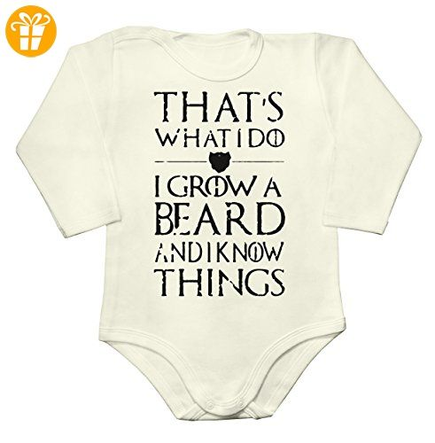 That's What I Do, I Grow A Beard And I Know Things Baby Long Sleeve Romper Bodysuit Extra Small - Baby bodys baby einteiler baby stampler (*Partner-Link)