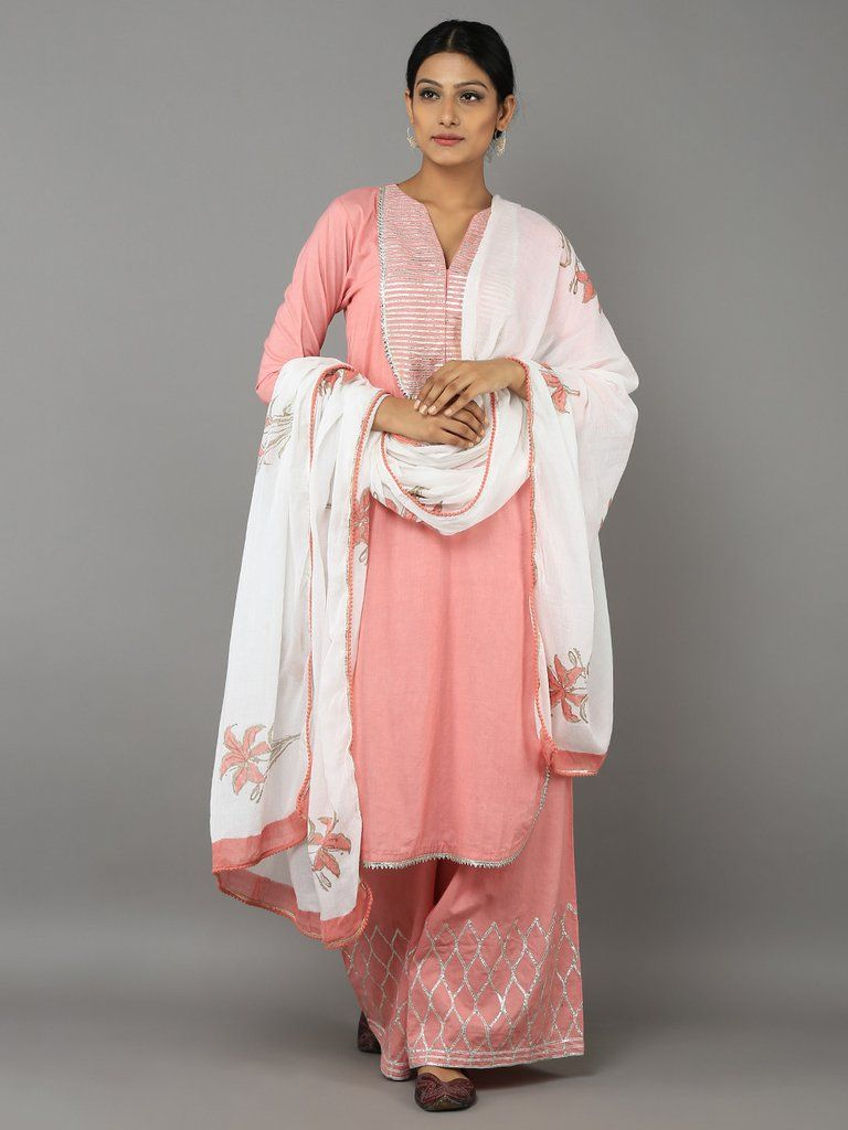 774485adf3 Pink Off White Cotton Gota Suit - Set of 3 | Summer dresses | Indian ...