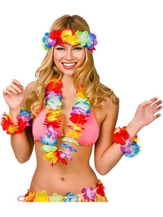 Ladies Girls Hawaiian Flower Lei Hula Bra Beach Party Fancy Dress