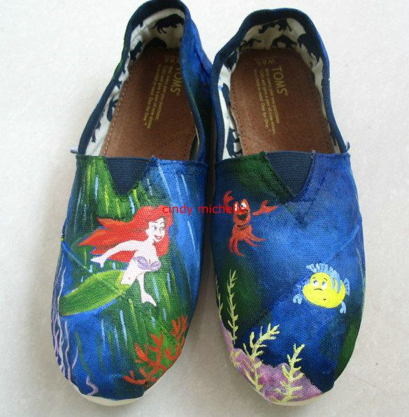 62d500cbf3e custom toms the Little Mermaid TOMS shoes Hand-painted on toms shoes ...