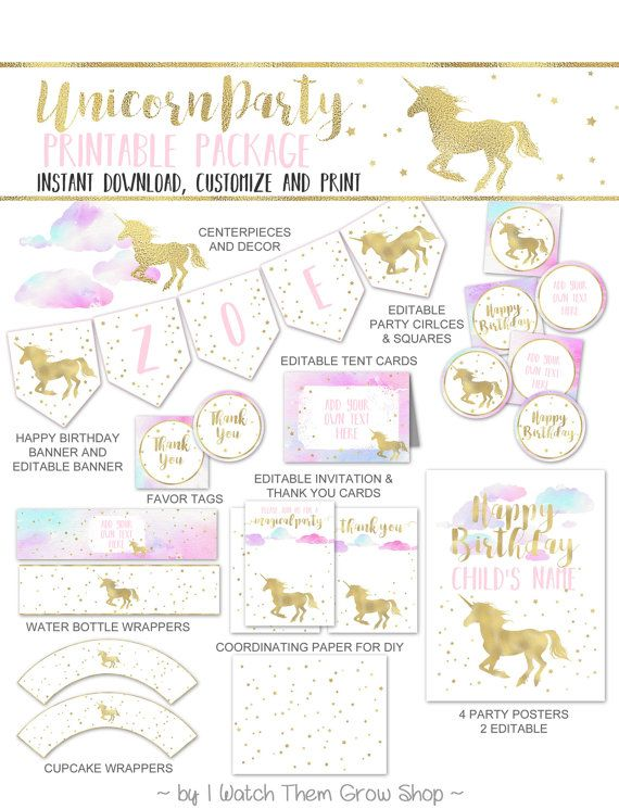 This pretty unicorn party printables package comes with ...