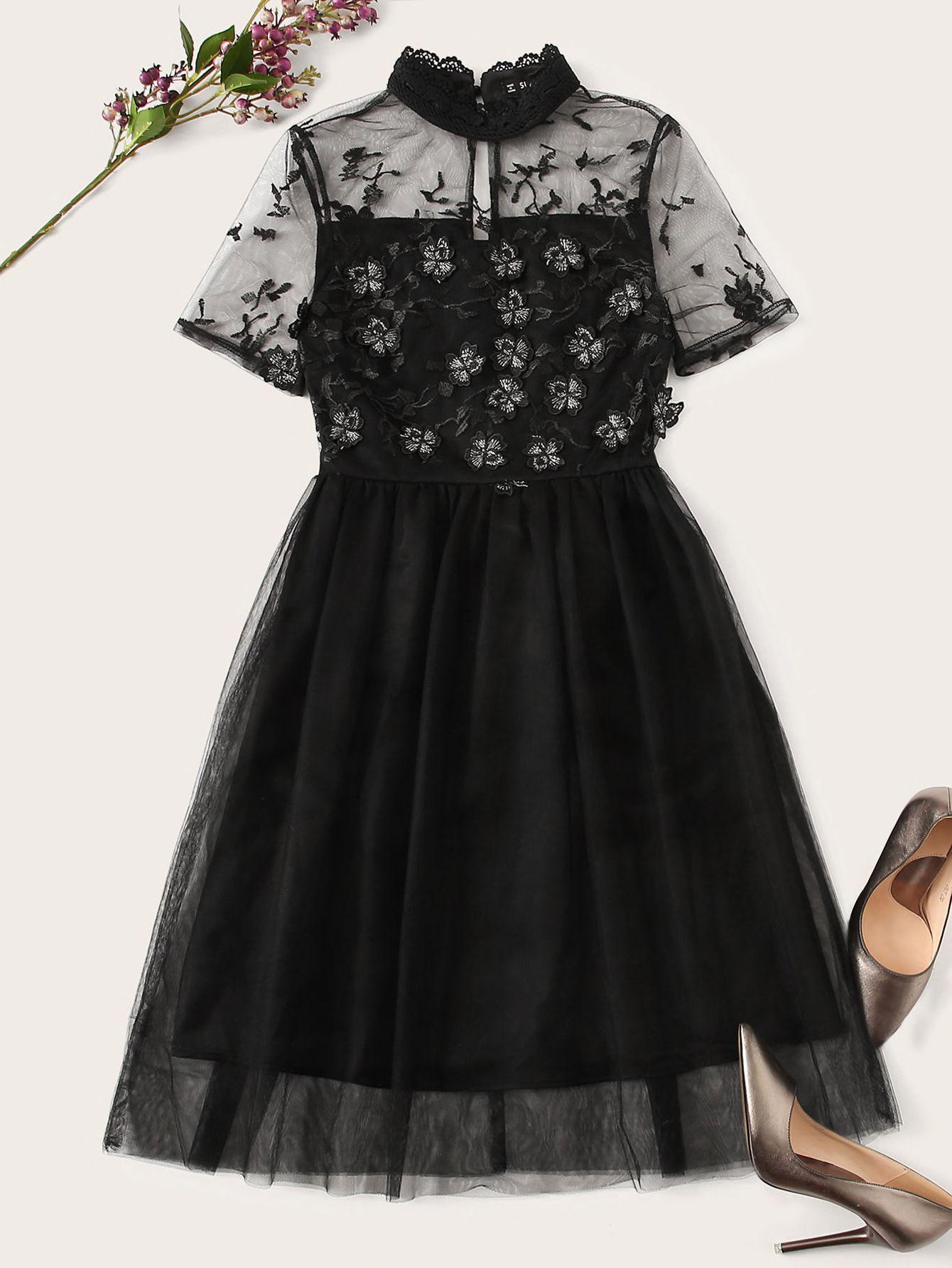 فستان بعنق مستدير منمق شبكي متباين قد اشتريت منتج رائع من موقع شي إن أرغب في أن أوصيكم بشرائه حلوه Fit And Flare Dress Fashion Mesh Dress
