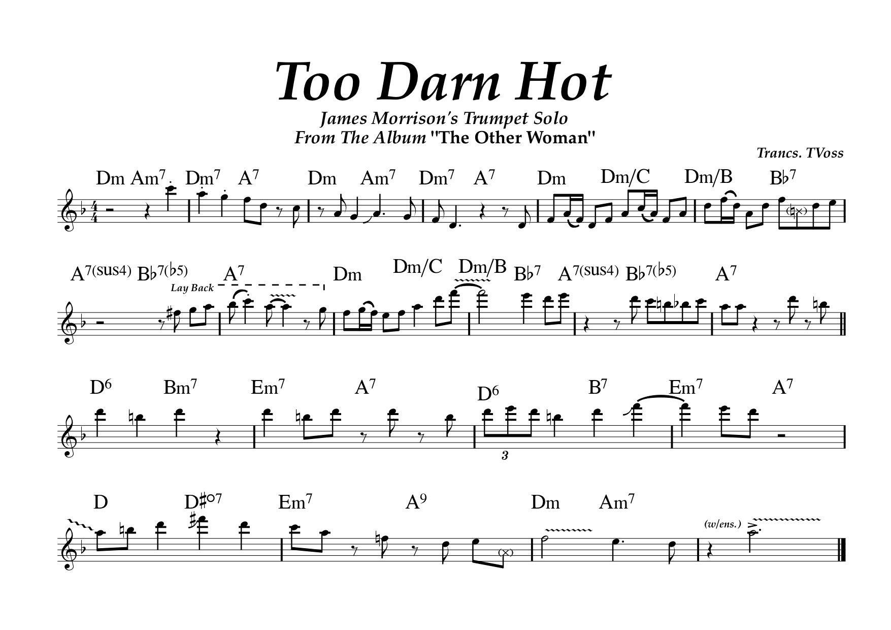 James Morrison: Too Darn Hot (Trumpet Solo Transcription) | Trumpets