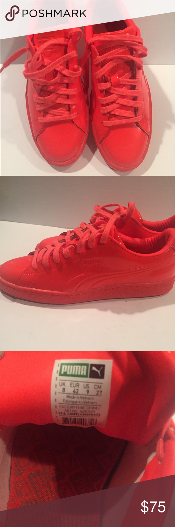 sneakers for cheap 662c0 dbafa ... discount puma clyde sneakers these puma sneakers are hot the color is  bright neon orange patent