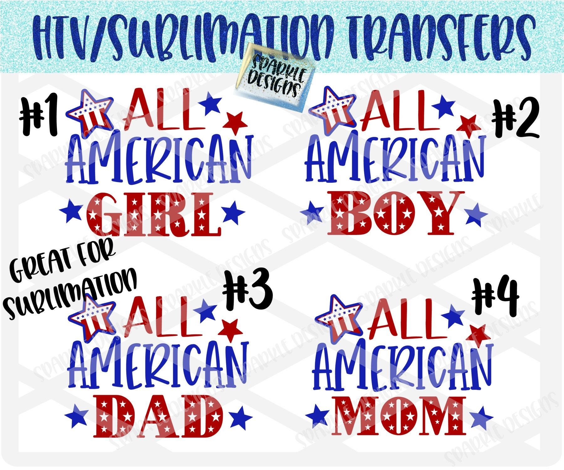 All American Girl Boy Mom Dad Htv Transfer Sublimation Transfer Ready To Press Iron On Independence Day 4th Of July Family Shirts Mom Dad American Girl All American Girl