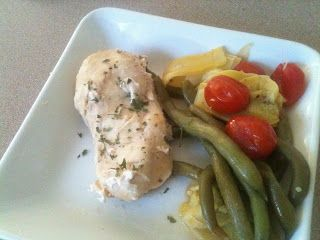 Slow cooker one-pot meal - Chicken with Tomatoes and Green Beans