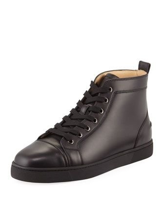 f6e4a23f597a Men  s+Louis+Leather+High-Top+Sneakers +by+Christian+Louboutin+at+Bergdorf+Goodman.