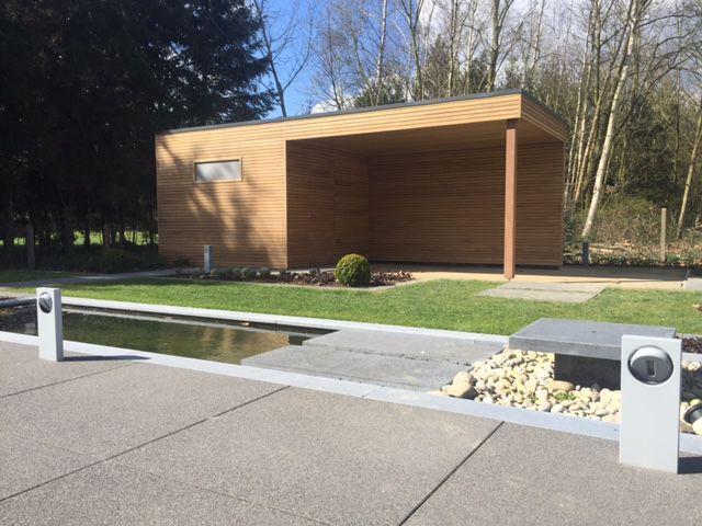 Abri de jardin Cube en bois exotique ( Veran-profil en Afrormosia - Montage D Un Garage En Bois