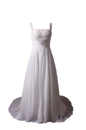 Winey Bridal Bling Beading White Spaghetti Strap Corset Chiffon Wedding Dresses