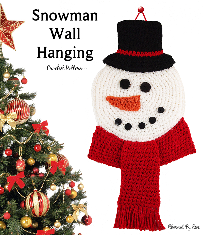 12WeeksChristmasCAL Week 5 ~ Snowman Wall Hanging ~ Free Crochet ...