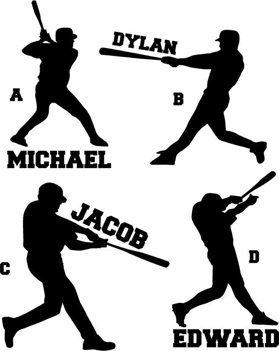Baseball Player Custom Name Wall Decal Vinyl By Stickitthere - Custom vinyl baseball decals