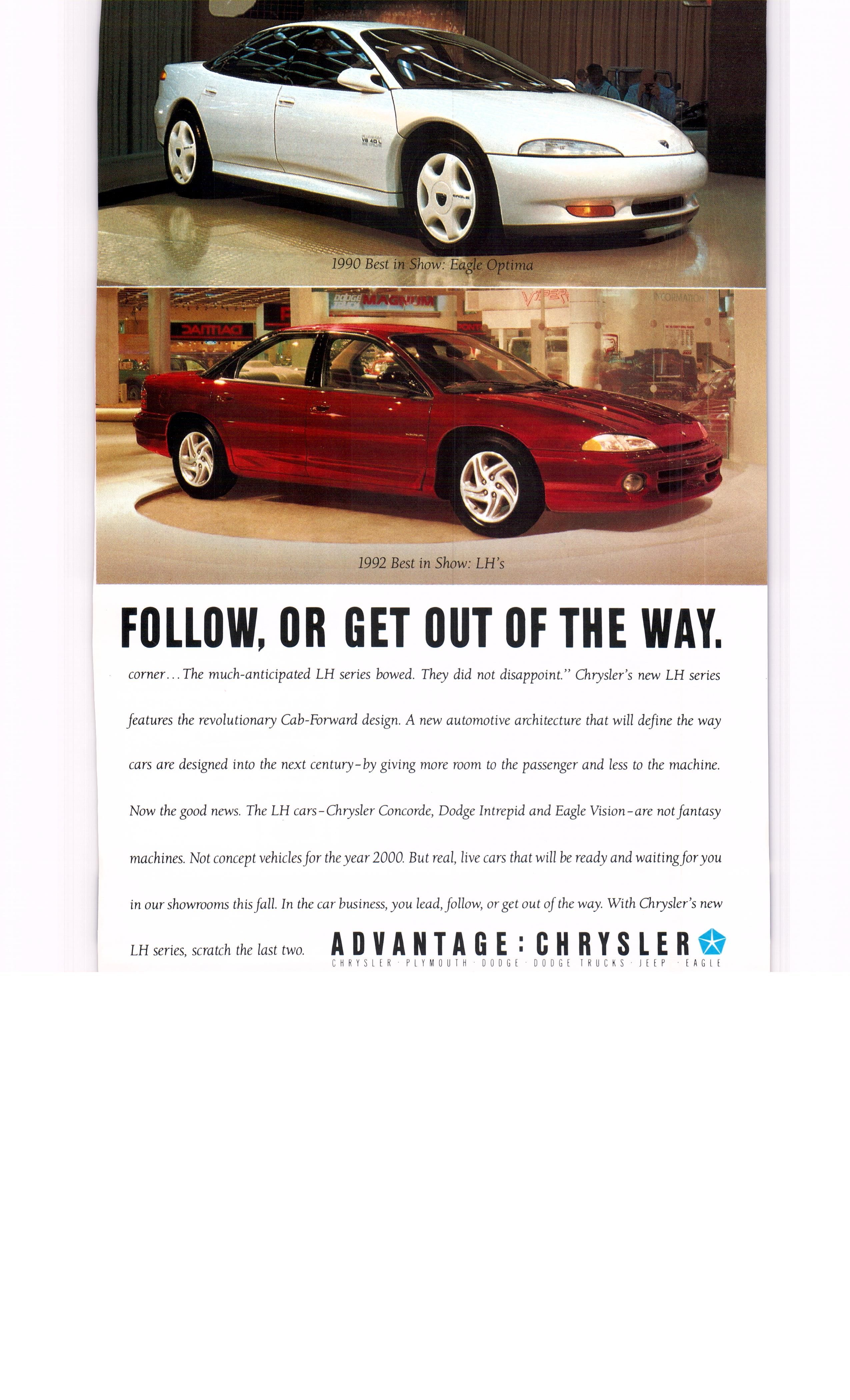 Luxury caravan with full size sports car garage from futuria - 1992 Eagle Optima And Lh National Geographic June 1992
