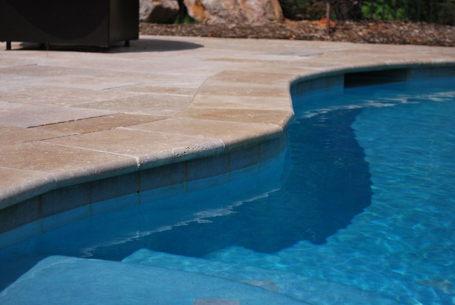 Pool Tile And Coping Ideas pool tile pattern ideas Travertine Pool Coping