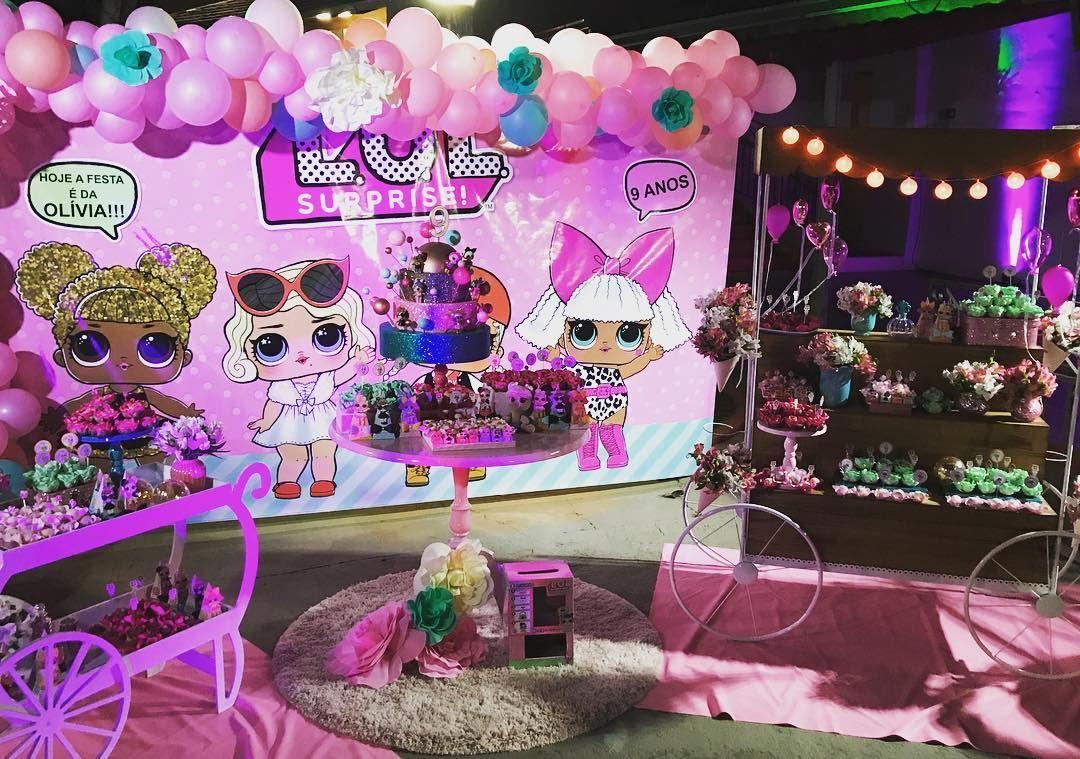 Decoracion con globos fiesta ni a tema mu ecas lol ideas - Como hacer decoracion de cumpleanos ...