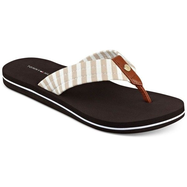 Tommy Hilfiger Women's Cicin Stripes Flip-Flop Sandals ($29) ❤ liked on Polyvore featuring shoes, sandals, flip flops, nautral stripe, tommy hilfiger sandals, tommy hilfiger footwear, stripe shoes, tommy hilfiger flip flops and striped shoes