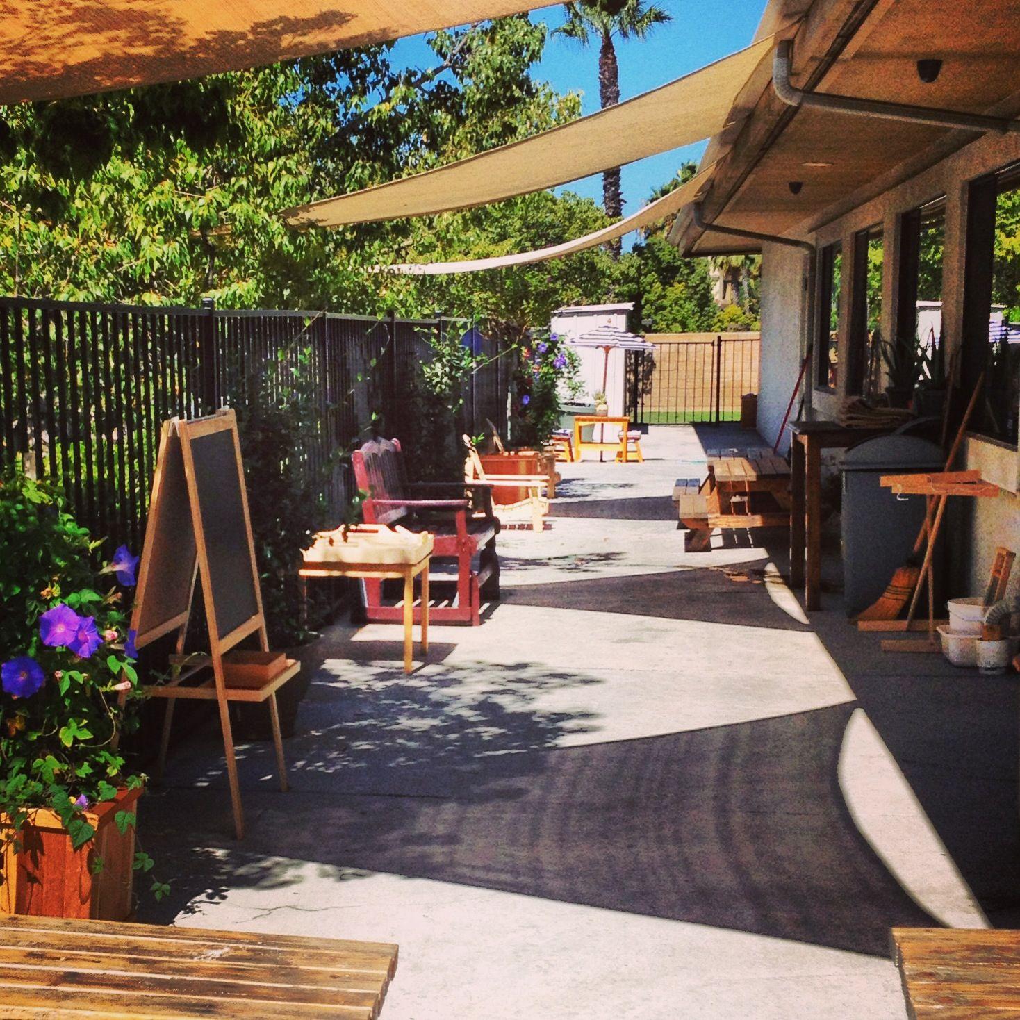 Outdoor Work Area For Gardening Painting Exploration At Mission Montessori Montessorimv