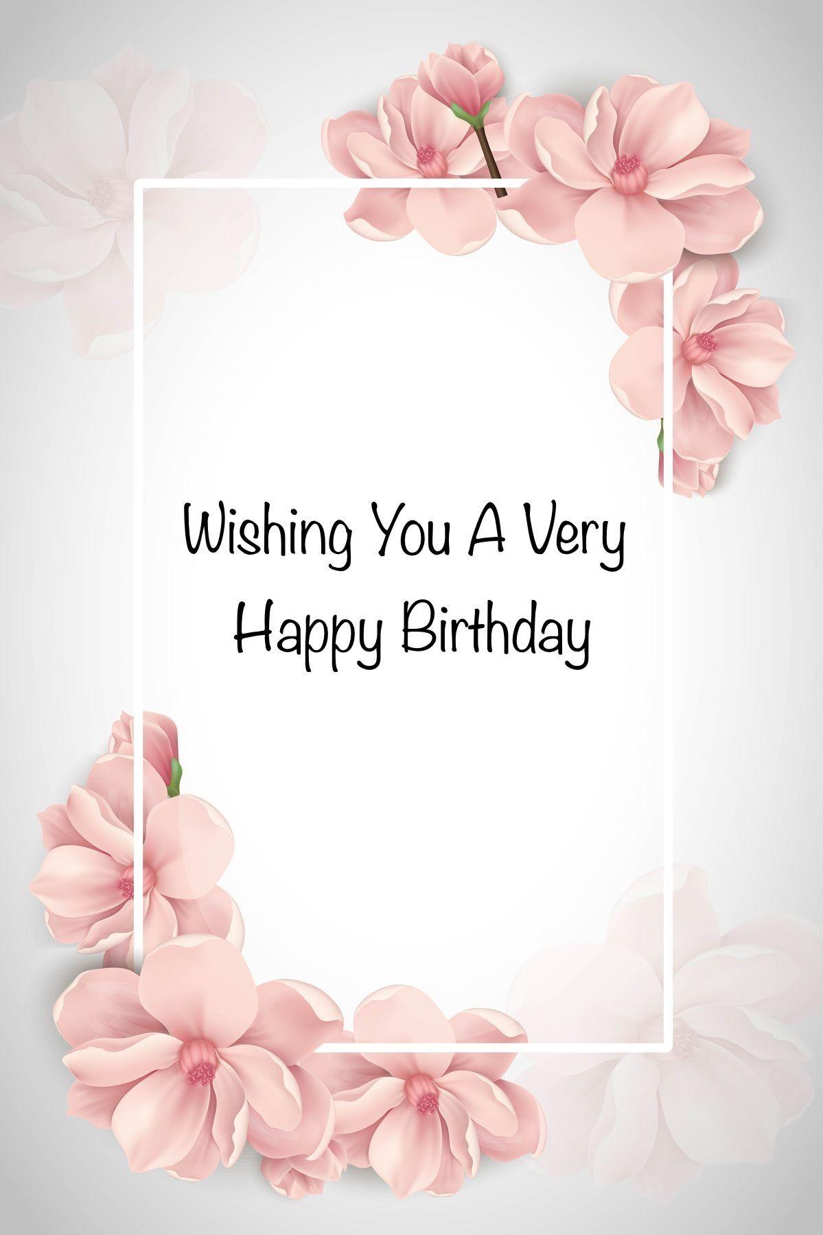 Happy Birthday Pink Blossom White Frame Grey White Background