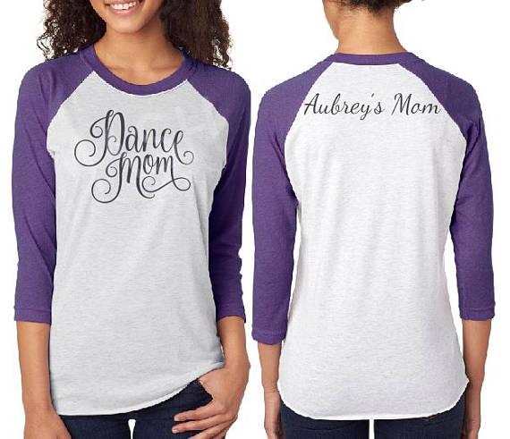 2f24e6614 Custom Dance Mom shirt, baseball 3/4 sleeve raglan tee, personalized unisex dance  shirt, mom dance shirt, dancer