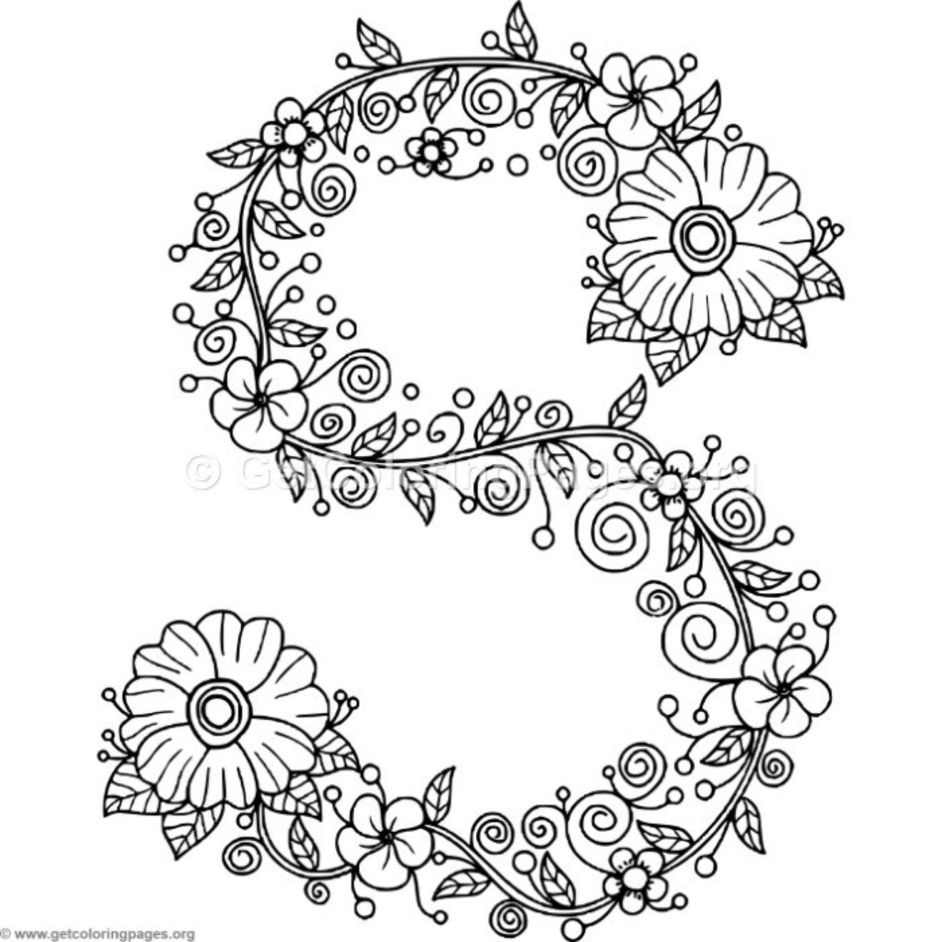 Floral Alphabet Coloring Pages Getcoloringpages Org Flower Coloring Pages Alphabet Coloring Pages Coloring Letters