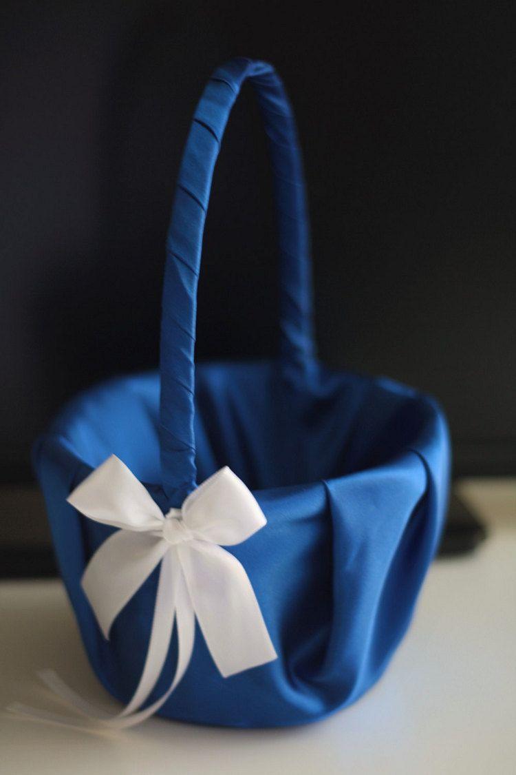 Blue Flower Girl Basket Royal Blue Bearer Pillow Cobalt Wedding