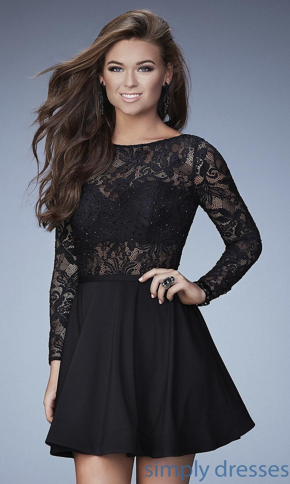 Lace dress gray  Lace Bodice Long Sleeve Short Dress  Brought to you by Avarsha