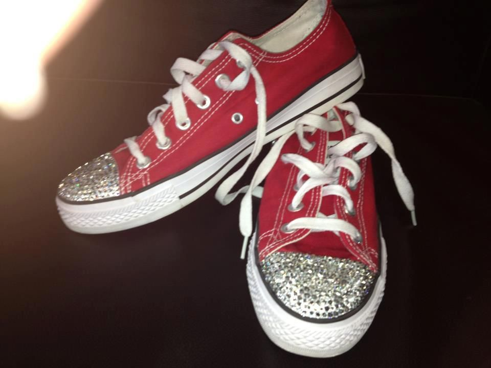 Red converse customised with silver rhinestones | Converse