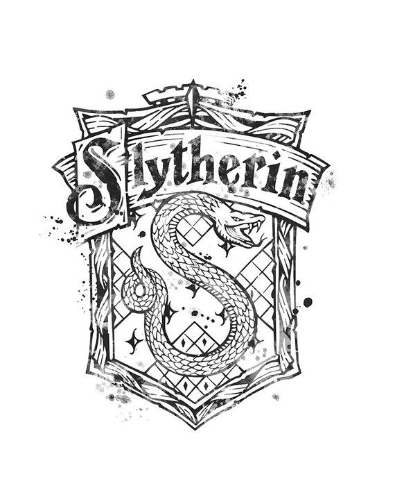 Slytherin Crest Black and White Harry Potter Watercolor ...