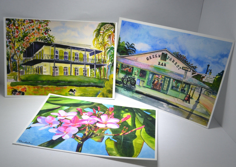 Green Parrot Bar in Key West - Hand Signed Archival Watercolor Print Wall Art by Brenda Ann